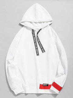 Letter Print Ribbon Embellished Hoodie - White 3xl