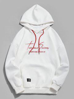 Kangaroo Pocket Letter Print Sweatshirt - White M