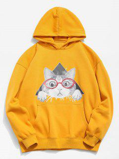 Cat Pattern Print Hoodie - Bright Yellow M