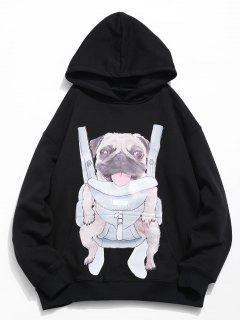 Doggy Pattern Print Hoodie - Black L