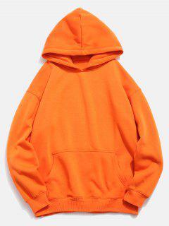 Kangaroo Pocket Fish Pattern Print Hoodie - Pumpkin Orange Xl