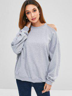 Striped Cutout Loose Sweatshirt - Light Gray