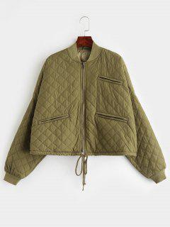 Zippered Pockets Quilted Jacket - Army Green M