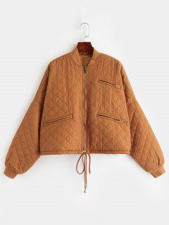 Zippered Pockets Quilted Jacket - Sandy Brown S