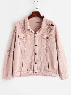 Front Pockets Ripped Denim Jacket - Pig Pink L