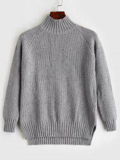 Mock Neck High Low Schlitz Pullover - Grau