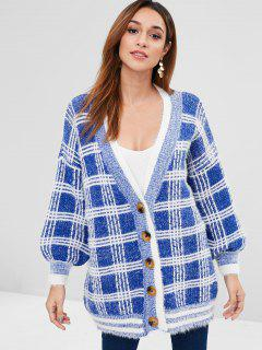 Lantern Sleeves Buttoned Plaid Cardigan - Blue