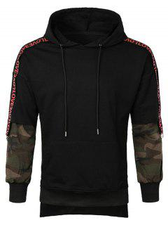 Letter Camo Sleeve Pullover Hoodie - Black M