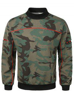 Casual Lay Open Sleeve Camouflage Sweatshirt - Camouflage Green Xl