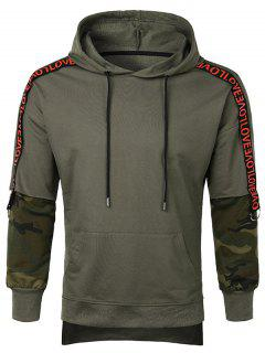 Letter Camo Sleeve Pullover Hoodie - Camouflage Green L