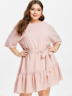 ZAFUL Plus Size Ruffles Belted Dress - Light Pink 2x