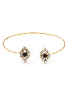 Shiny Rhinestone Inlaid Evil Eye Cuff Bracelet - Gold