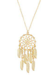 Stylish Alloy Fringed Mesh Necklace - Gold