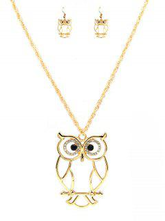 Cartoon Owl Alloy Pendant Necklace And Earrings Suit - Gold