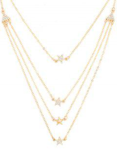 Rhinestone Star Multi Layers Elegant Necklace - Gold