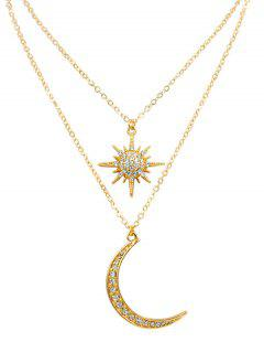 Stylish Star Moon Rhinestone Pendant Necklace - Gold