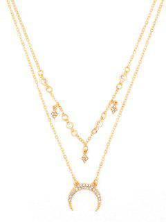 Stylish Crescent Moon Rhinestone Multi Layers Necklace - Gold