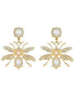 Butterfly Shape Rhinestone Alloy Earrings - Gold