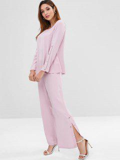 ZAFUL Snap Button Top And Pants Set - Pink M
