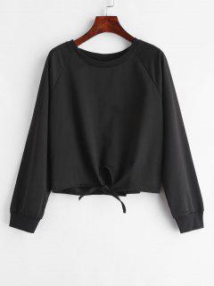 Knot Hem Crew Neck Sweatshirt - Black L