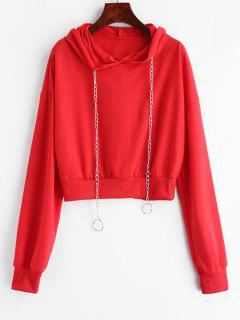Chains Drawstring Crop Hoodie - Red S