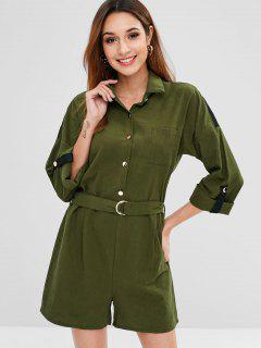 Long Sleeve Shirt Romper With Belt - Army Green L