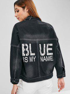 Letter Drop Shoulder Distressed Denim Jacket - Black L