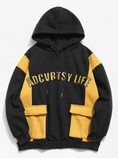 Fleece Lined Color Block Pockets Letter Hoodie - Black 2xl