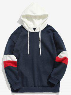 Drawstring Splicing Color Block Hoodie - Deep Blue M