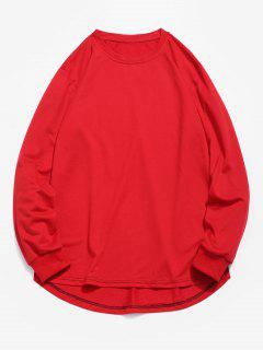 Sweat-shirt Haut Bas En Couleur Unie - Rouge Xs