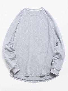 Solid Color High Low Sweatshirt - Gray M