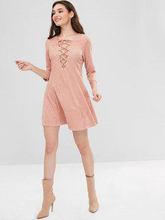 ZAFUL Lace Up Faux Suede Mini Dress - Orange Pink M
