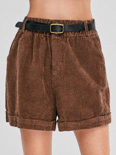 Loose Zipper Belted Corduroy Shorts - Coffee M