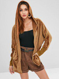 Hooded Open Front Dolman Fleece Coat - Brown M