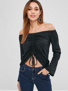 Cinched Off Shoulder Top - Black