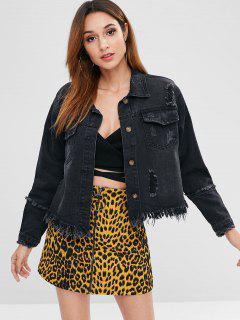Pocket Button Up Distressed Jean Jacket - Black L