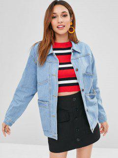 Pocket Button Up Longline Jean Jacket - Jeans Blue Xl