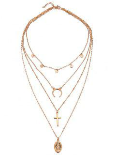 Multi Layered Crescent Moon Cross Necklace - Gold