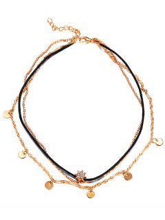 Stylish Round Sequins Rhinestone Multi Layers Chocker Necklace - Gold