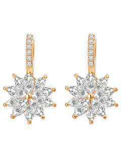 Rhinestone Inlaid Floral Wedding Earrings - Gold