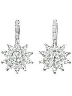 Rhinestone Inlaid Floral Wedding Earrings - Silver