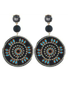 Floral Patterned Round Drop Earrings - Black