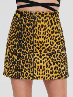 ZAFUL Zip Up Leopard Mini Skirt - Leopard S