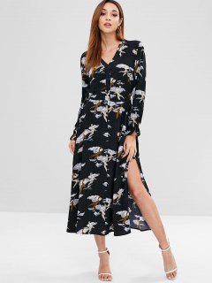 Long Sleeves Slit Printed Dress - Black M