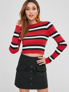 ZAFUL Pull Maigre Rayé à Col Rond - Rouge Lave S