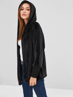 Hooded Open Front Dolman Fleece Coat - Black M