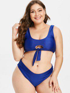 ZAFUL Keyhole Tied Plus Size Bikini Set - Cobalt Blue 1x