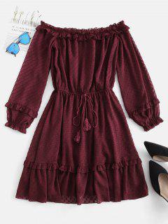 ZAFUL Off Shoulder Frilled Sheer Mini Dress - Red Wine M