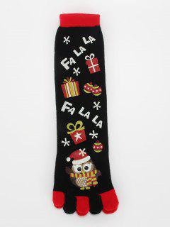 Cartoon Owl Full Toe Christmas Socks - Black