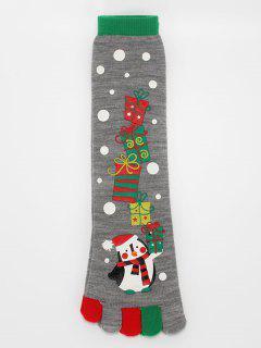 Christmas Snowman Winter Full Toe Socks - Battleship Gray